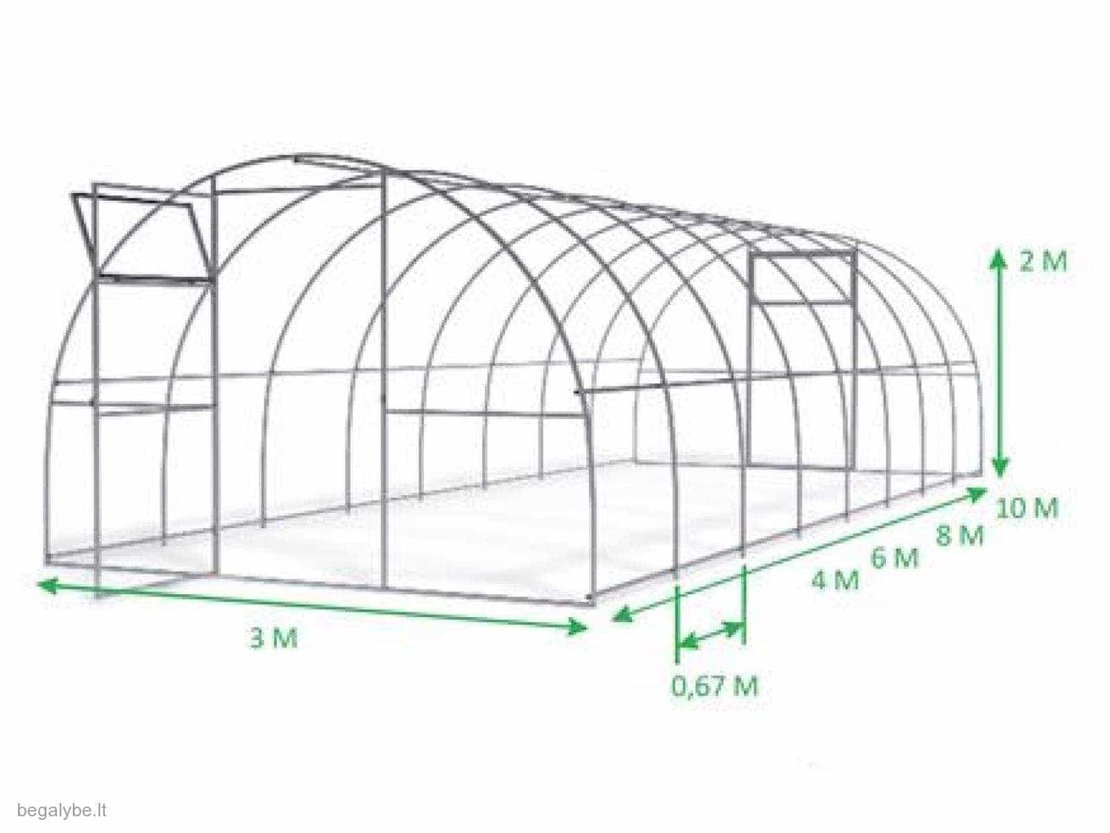 Kokybiškas polikarbonatinis šiltnamis Elite (3x8)