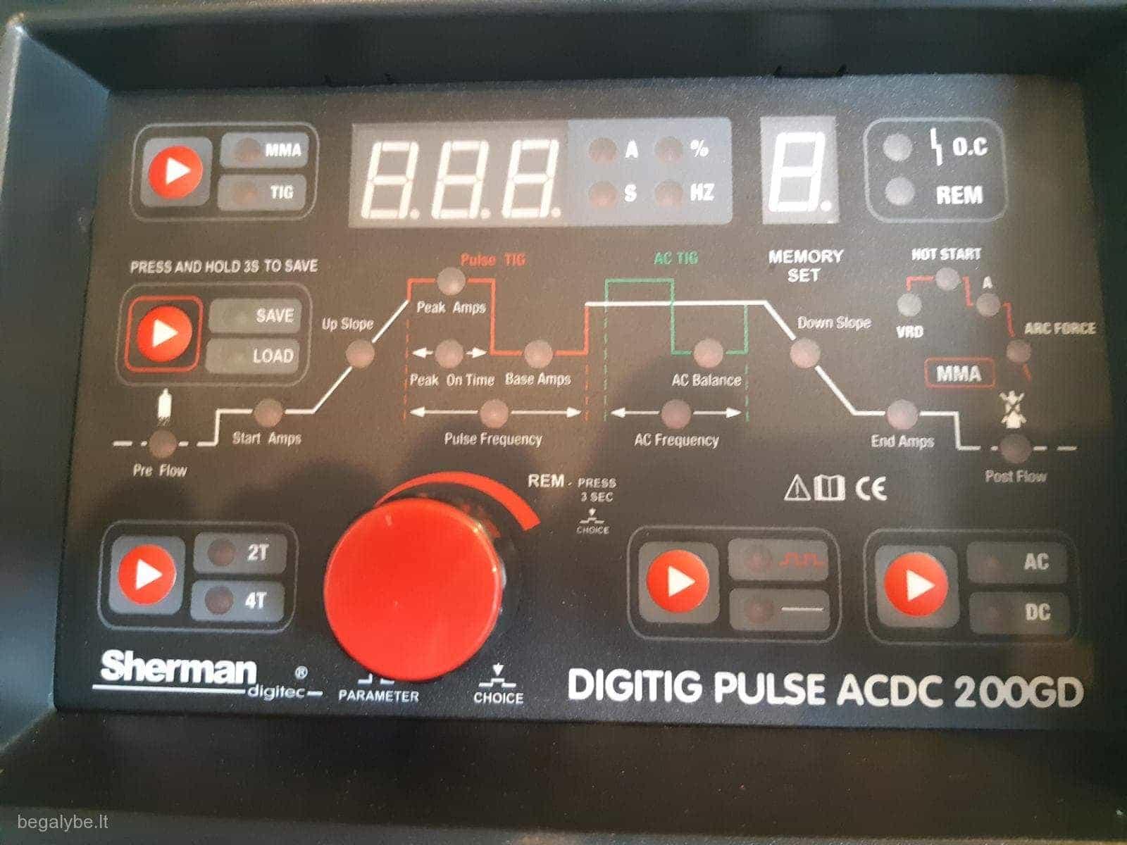 Suvirinimo aparatas SHERMAN DIGITIG  AC/DC 200GD aliuminiui - 6/10