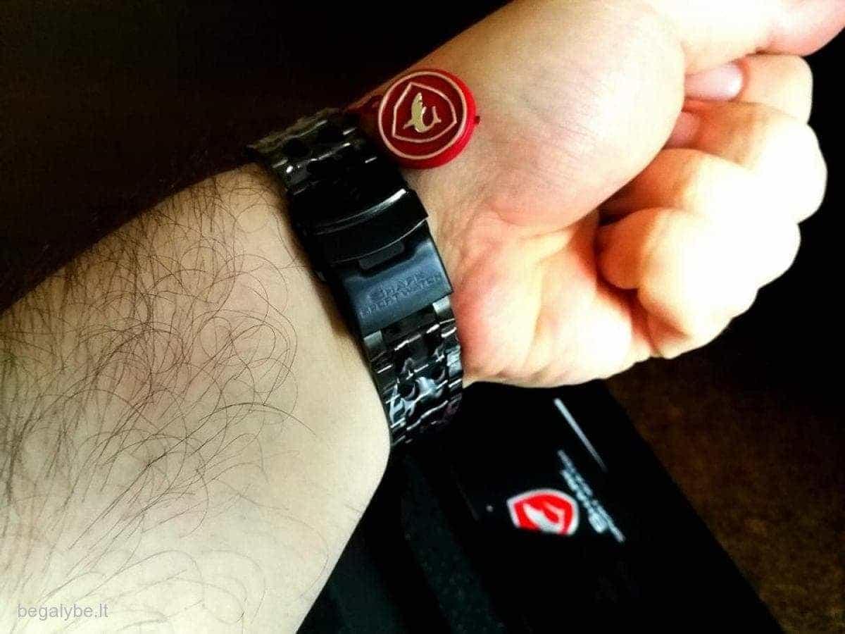 SHARK juodas ryškus laikrodis firminėje dėžutėje - 2/7