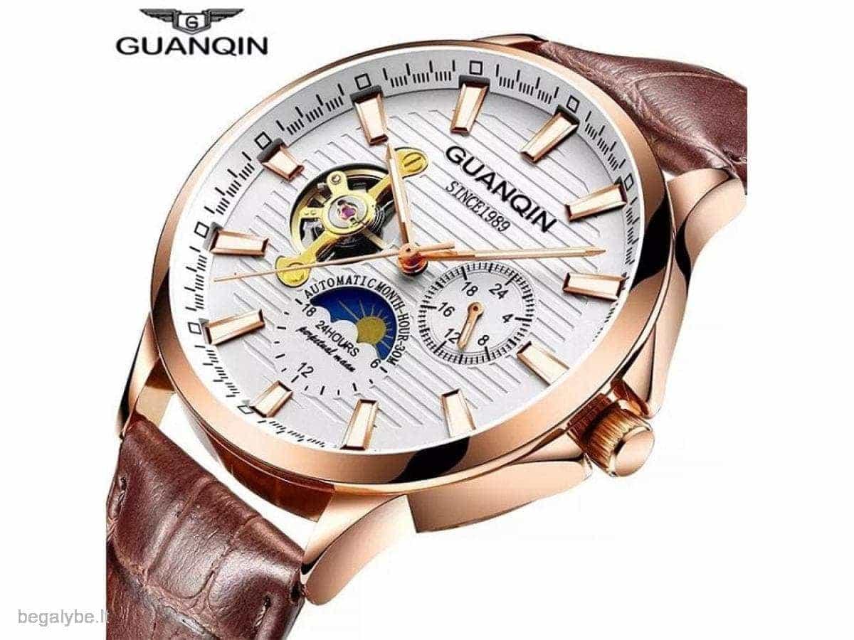 GUANQIN solidus mechaninis gražus firminėje dėžutėje laikrodis