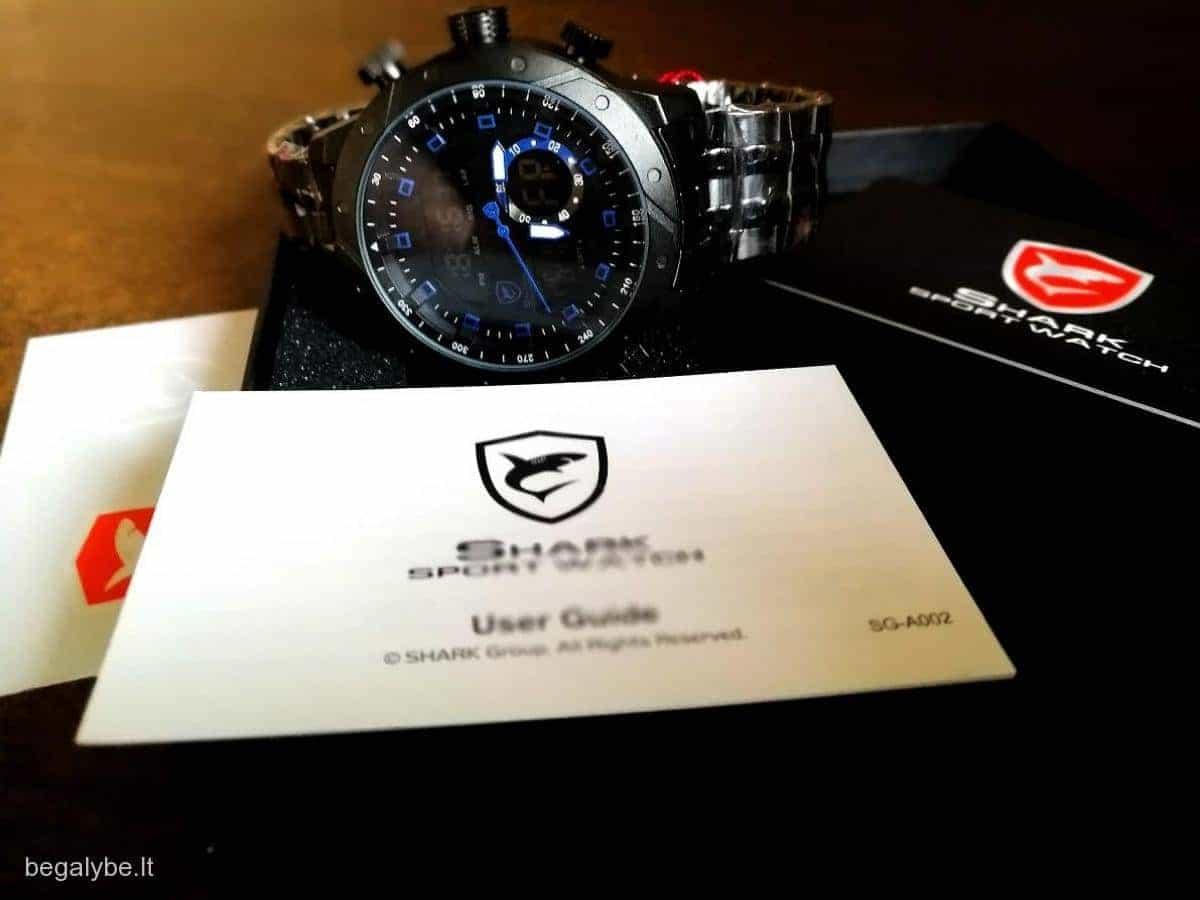 SHARK juodas ryškus laikrodis firminėje dėžutėje