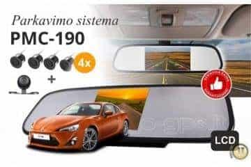 Pmc-190 Parkavimo Sistema Veidrodyje  + Kamera + 4 davikliai - 10/12