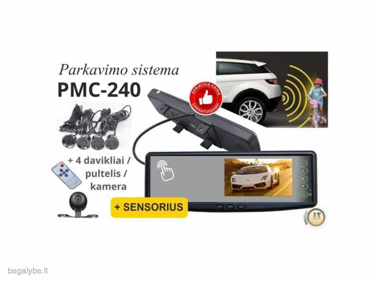 Parkavimo sistema galinio vaizdo veidrodėlyje PMC-240+ 4 davki - 1/13